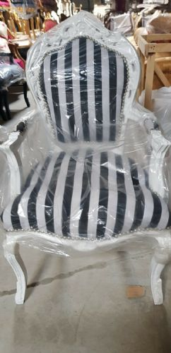 CHAIRS FRANCE BAROQUE STYLE DINING ROYAL CHAIR WITH ARMRESTS WHITE BLACK #70F31